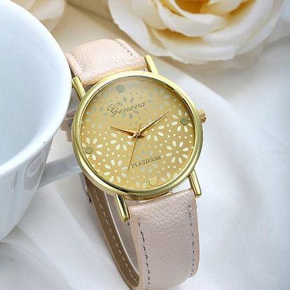 Dámské analogové hodinky - béžová - dodání do 2 dnů