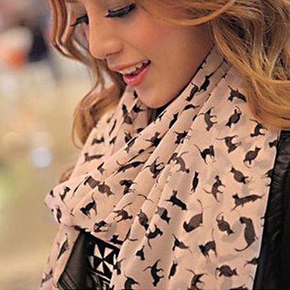 Dámský šátek s motivy černých koček - dodání do 2 dnů