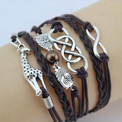 Vícevrstvé náramky s žirafou a sovičkami - černá - dodání do 2 dnů