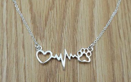 Dámský náhrdelník - srdce, puls a tlapka