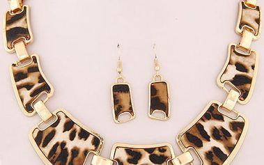 Náhrdelník a náušnice s leopardím vzorem
