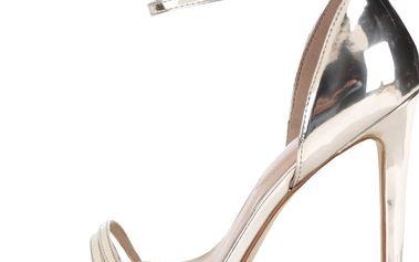 Lesklé sandálky ve zlaté barvě na jehlovém podpatku ALDO Elivia