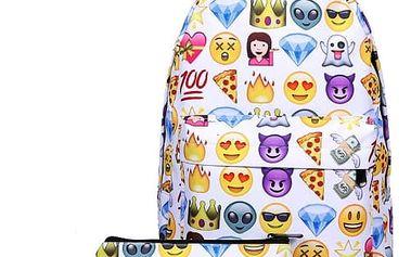Studentský batoh se smajlíky a pouzdrem
