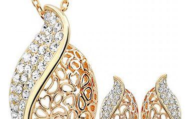 Náušnice s řetízkem ve zlaté barvě se štrasováním