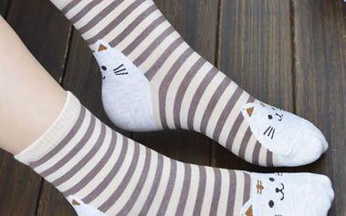 Dámské ponožky s veselými kočkami - 6 barev