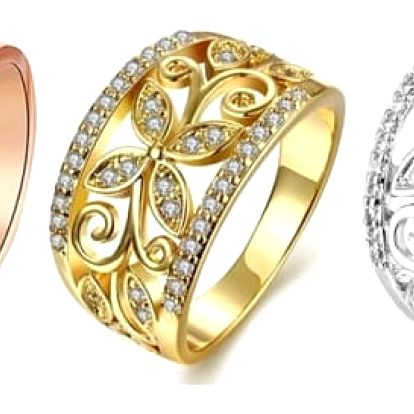 Dámský široký prsten s květinou a kamínky