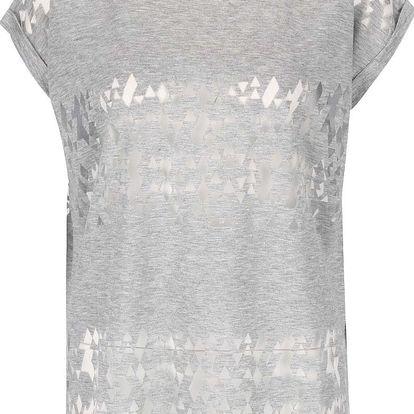 Šedé volnější tričko s transparentními detaily ICHI Leni
