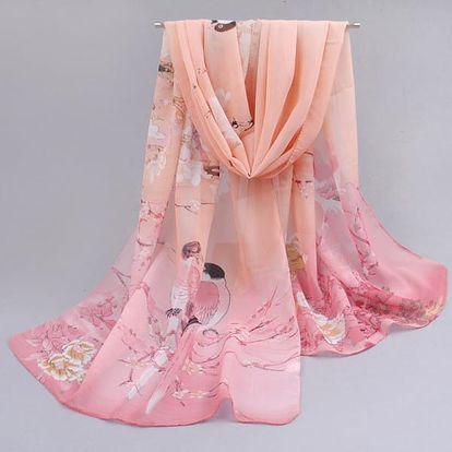 Dámský barevný šátek s ptáčky v několika variantách