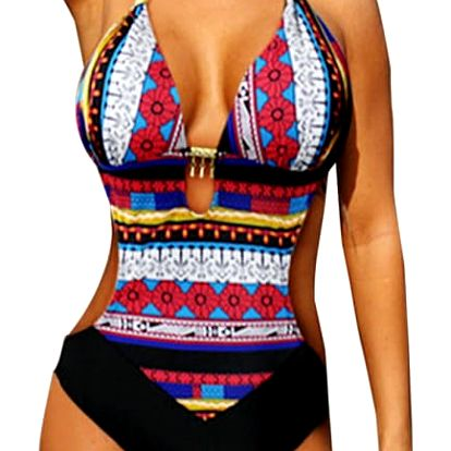 Push-up jednodílné plavky s krásnými vzory - 2 barvy