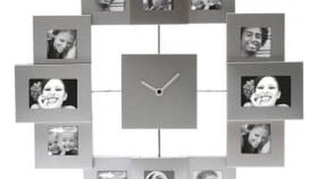 Hodiny s fotorámečky - stříbrné