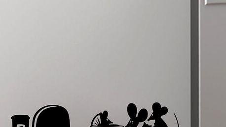 Samolepka na zeď - myší rodinka