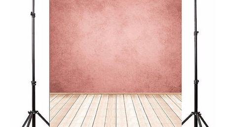 Ateliérové fotopozadí 3 x 5 m - Zeď ve starorůžové barvě a světlá dřevěná podlaha
