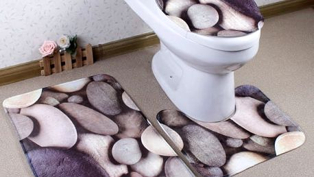 Třídílná souprava koberečků do koupelny - kameny - dodání do 2 dnů