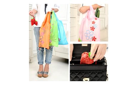 Skládací nákupní taška - jahůdka