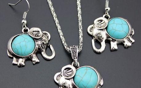 Sada sloních náušnic a náhrdelníku v tyrkysové barvě - dodání do 2 dnů