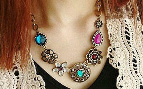 Vintage náhrdelník s barevnými kamínky - dodání do 2 dnů