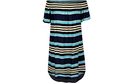 Tmavě modré volné šaty s barevnými pruhy Dorothy Perkins