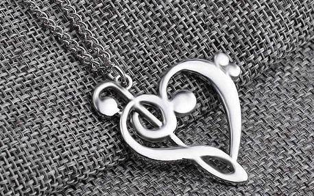 Dámský náhrdelník v podobě hudebního srdce - 3 barvy