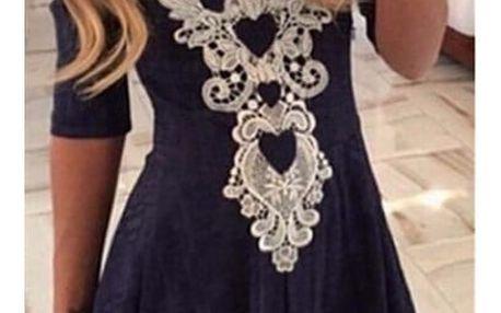 Romantické modré šaty s krajkou - 5 velikostí
