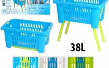 Koš na prádlo plastový 38 l skládací nohy 60x40x60 cm zelená ProGarden KO-Y54630210zele