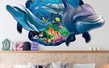 3D samolepka na zeď - Zvědaví delfíni