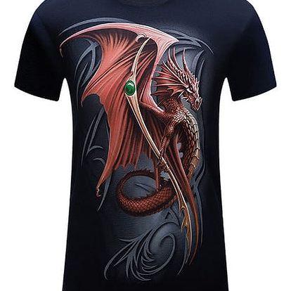 Pánské tričko s 3D potiskem s motivem draka