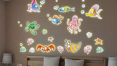 Fluorescenční samolepky - Obyvatelé mořského světa - dodání do 2 dnů