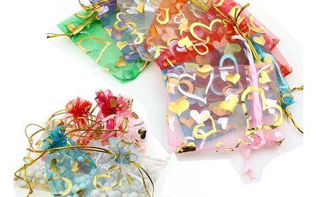 Sada srdíčkových sáčků z organzy - různé barvy - 100 kusů
