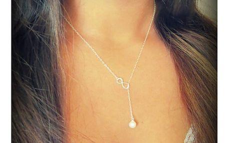 Náhrdelník s umělou perličkou a znakem nekonečna - dodání do 2 dnů