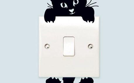 Samolepka černé kočky na vypínače - dodání do 2 dnů