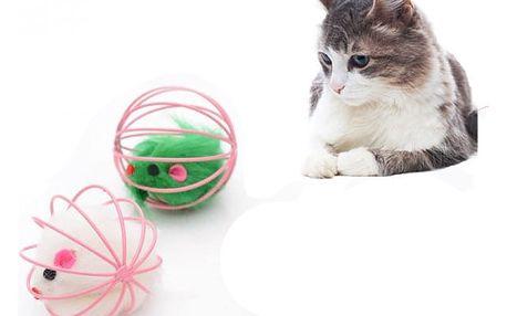 Myš v kleci - hračka pro kočky - 2 ks