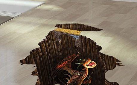 3D samolepka na podlahu s drakem - dodání do 2 dnů
