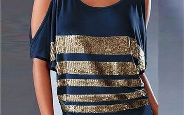 Dámské tričko s průstřihy a flitry Priscilla