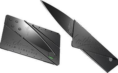 Černý skládací nůž z nerez oceli ve tvaru kreditní karty