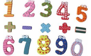 Dřevěné magnety s čísly pro děti
