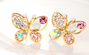 Dámské náušnice ve tvaru motýlka s barevnými kamínky