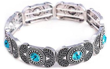 Náramek s kamínky a motýlky ve stříbrné barvě
