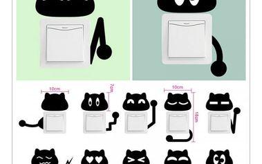 10 kočičích samolepek na vypínače - dodání do 2 dnů