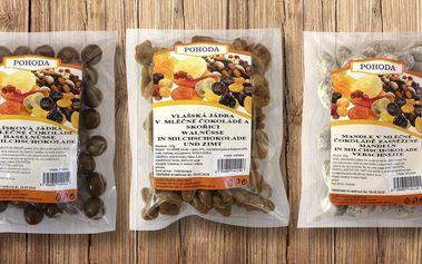 Ovoce a ořechy v mléčné čokoládě