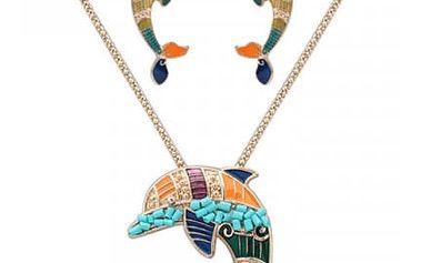 Set šperků s delfínem ve zlaté nebo stříbrné barvě