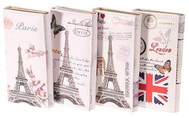 Vintage peněženka s motivy známých světových měst