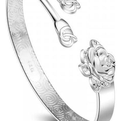 Dámský náramek s květy růží - stříbrná barva