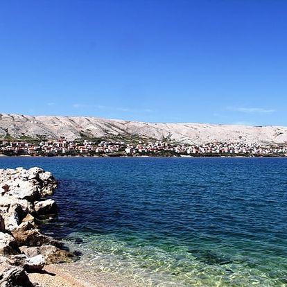 Chorvatsko, ostrov Pag, 5-6/2017: 8 dní pro 1 osobu u pláže s plnou penzí a možností busu