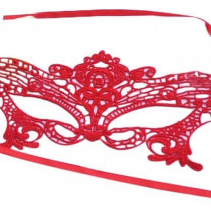 Svůdná škraboška v červené nebo růžové barvě