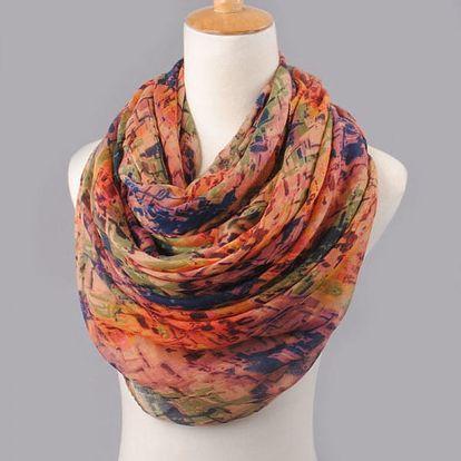 Pestrobarevný dámský šátek