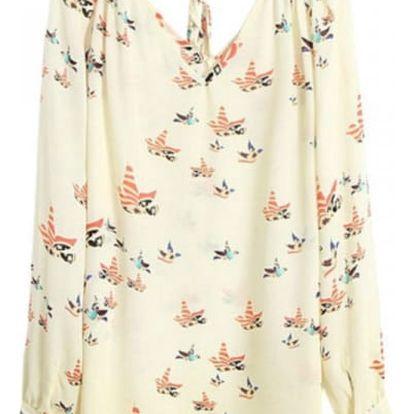 Dámské volné tričko s barevnými ptáčky