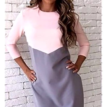 Dámské dvoubarevné šaty s delším rukávem - 3 barvy