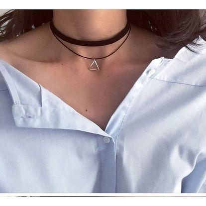 Dvojitý choker náhrdelník s přívěskem - černá barva