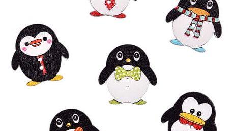 Sada dřevěných knoflíků s tučňákem - 50 ks