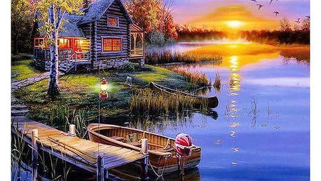 5D obraz 40 x 50 cm - Dům u jezera
